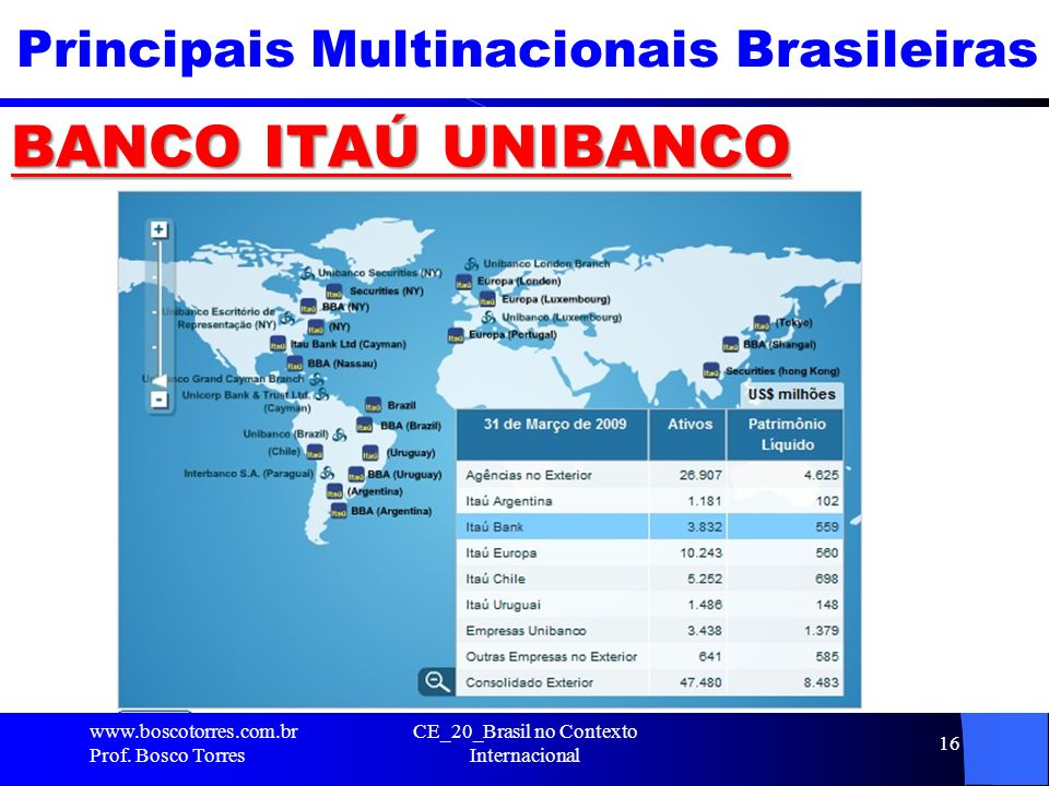 Principais Multinacionais Brasileiras BANCO ITAÚ UNIBANCO CE_20_Brasil no Contexto Internacional 16 www.boscotorres.com.br Prof. Bosco Torres