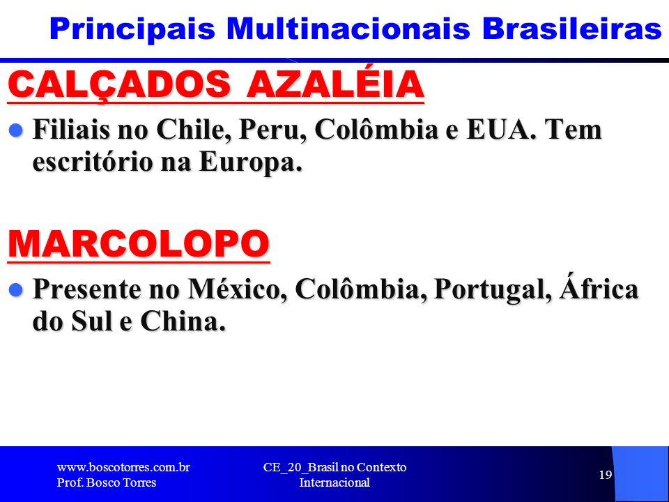 Principais Multinacionais Brasileiras CALÇADOS AZALÉIA Filiais no Chile, Peru, Colômbia e EUA. Tem escritório na Europa. Filiais no Chile, Peru, Colôm