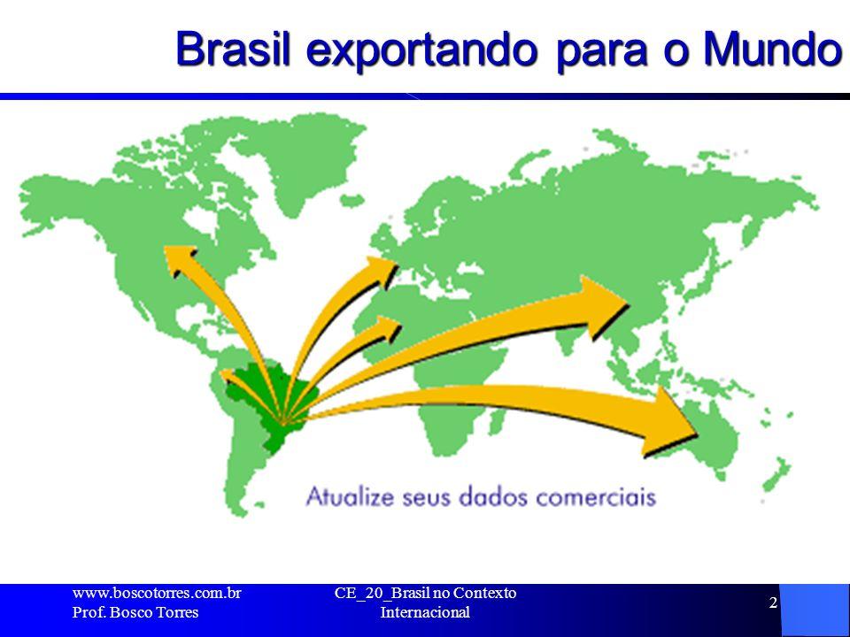 Brasil exportando para o Mundo. www.boscotorres.com.br Prof. Bosco Torres CE_20_Brasil no Contexto Internacional 2