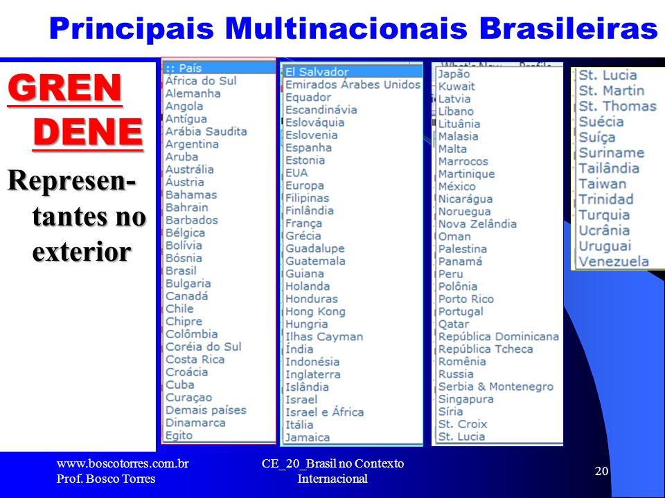 Principais Multinacionais Brasileiras www.boscotorres.com.br Prof. Bosco Torres CE_20_Brasil no Contexto Internacional 20 GREN DENE Represen- tantes n