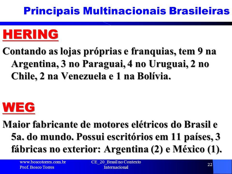 Principais Multinacionais Brasileiras HERING Contando as lojas próprias e franquias, tem 9 na Argentina, 3 no Paraguai, 4 no Uruguai, 2 no Chile, 2 na