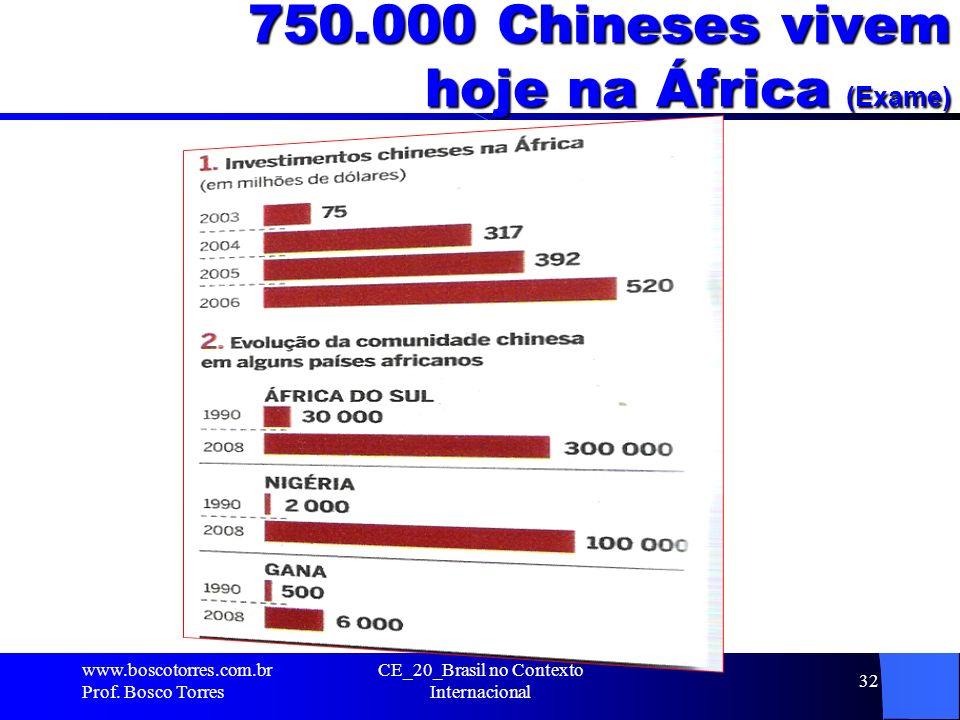 750.000 Chineses vivem hoje na África (Exame). www.boscotorres.com.br Prof. Bosco Torres CE_20_Brasil no Contexto Internacional 32