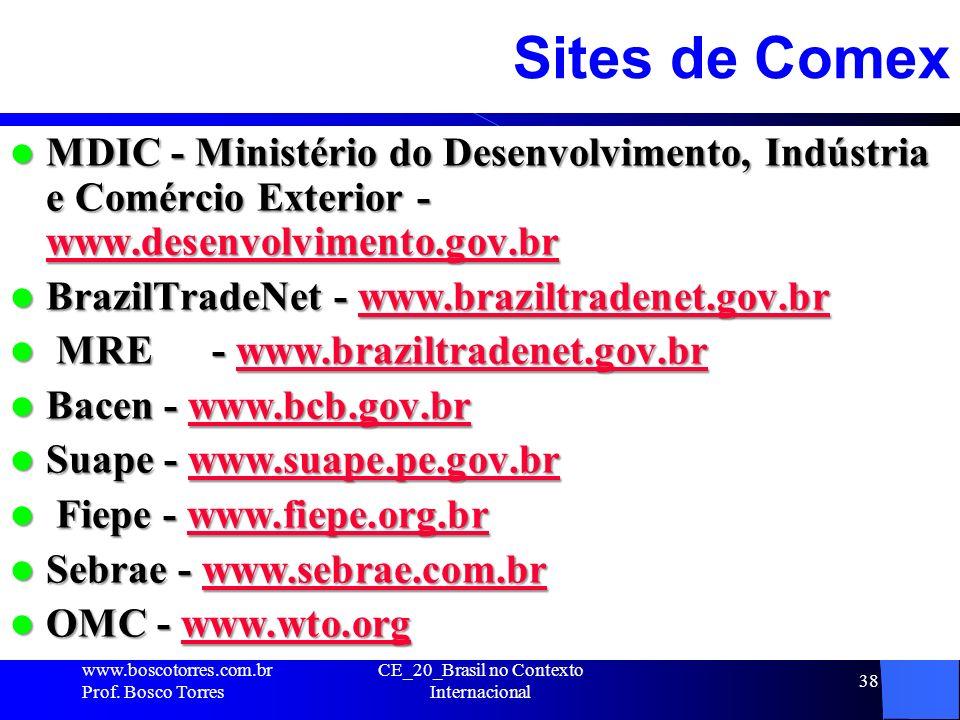 38 Sites de Comex MDIC - Ministério do Desenvolvimento, Indústria e Comércio Exterior - www.desenvolvimento.gov.br MDIC - Ministério do Desenvolviment
