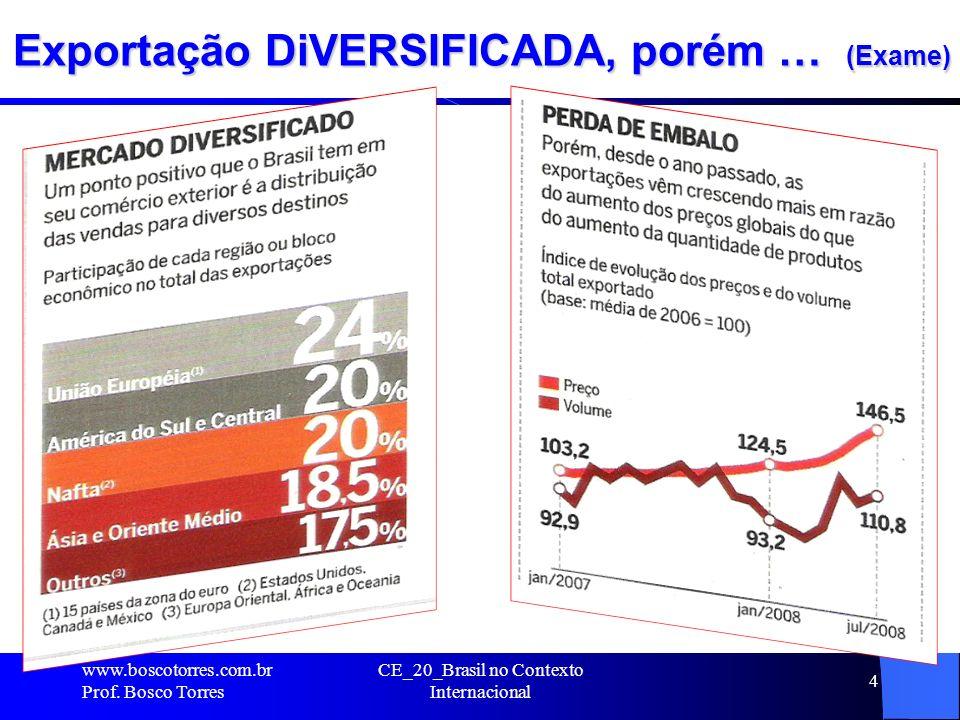 Exportação DiVERSIFICADA, porém … (Exame). www.boscotorres.com.br Prof. Bosco Torres CE_20_Brasil no Contexto Internacional 4