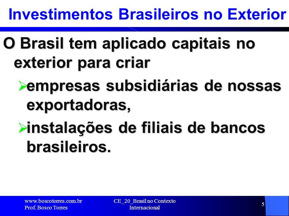 5 Investimentos Brasileiros no Exterior O Brasil tem aplicado capitais no exterior para criar empresas subsidiárias de nossas exportadoras, empresas s