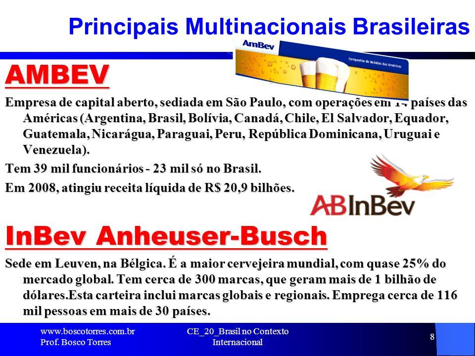 CE_20_Brasil no Contexto Internacional 8 Principais Multinacionais Brasileiras AMBEV Empresa de capital aberto, sediada em São Paulo, com operações em