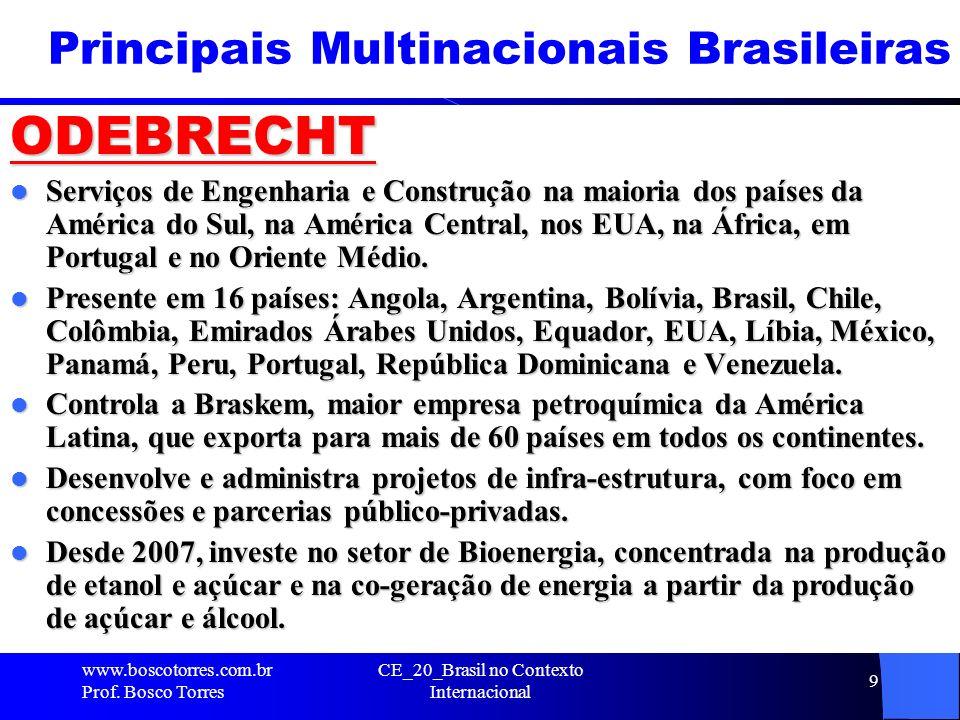 Principais Multinacionais Brasileiras ODEBRECHT Serviços de Engenharia e Construção na maioria dos países da América do Sul, na América Central, nos E