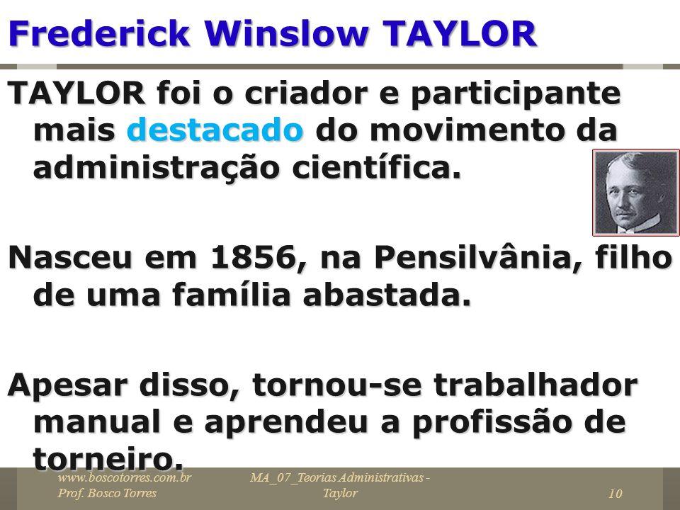 MA_07_Teorias Administrativas - Taylor10 Frederick Winslow TAYLOR TAYLOR foi o criador e participante mais destacado do movimento da administração cie