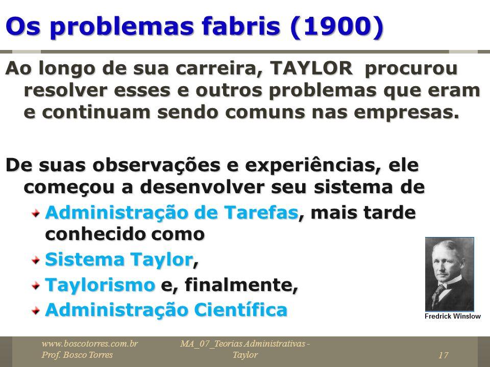 MA_07_Teorias Administrativas - Taylor17 Os problemas fabris (1900) Ao longo de sua carreira, TAYLOR procurou resolver esses e outros problemas que er