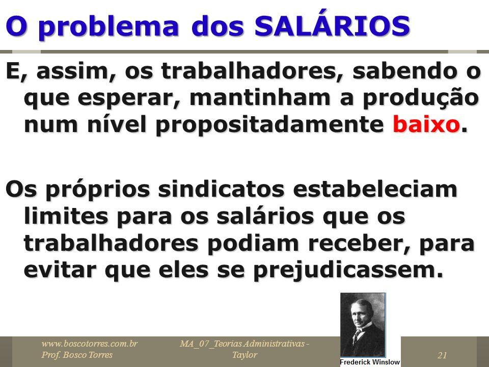 MA_07_Teorias Administrativas - Taylor21 O problema dos SALÁRIOS E, assim, os trabalhadores, sabendo o que esperar, mantinham a produção num nível pro