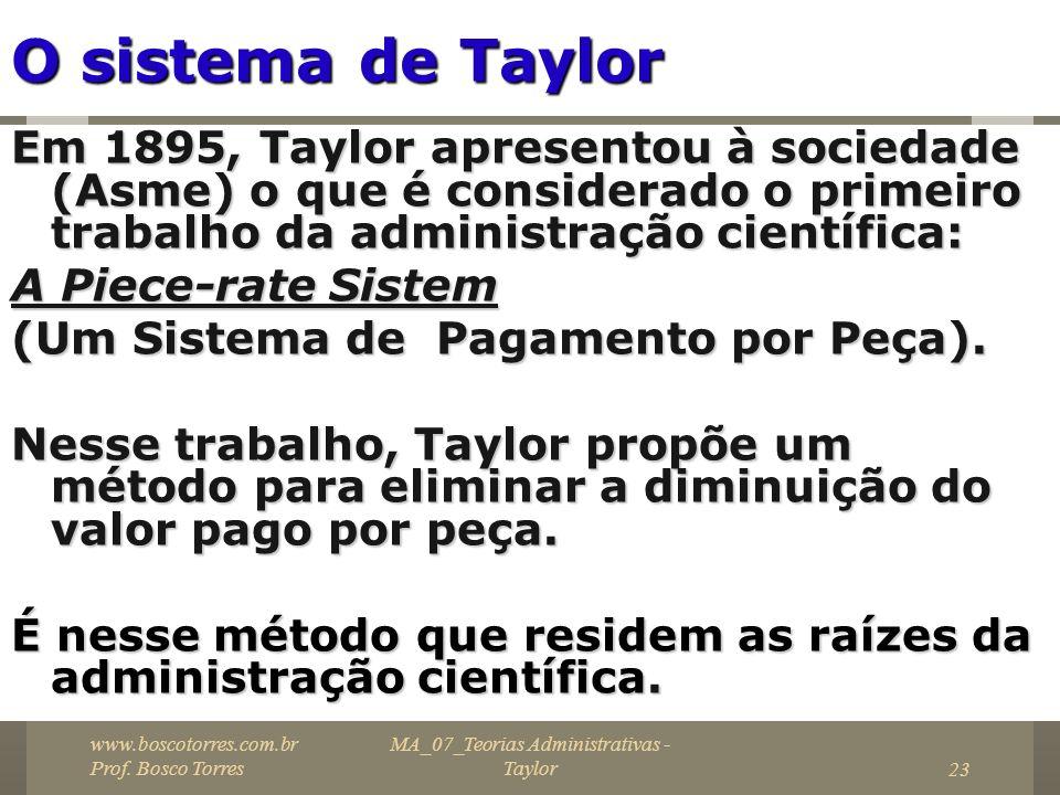 MA_07_Teorias Administrativas - Taylor23 O sistema de Taylor Em 1895, Taylor apresentou à sociedade (Asme) o que é considerado o primeiro trabalho da