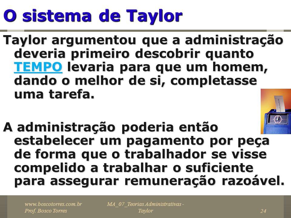 MA_07_Teorias Administrativas - Taylor24 O sistema de Taylor Taylor argumentou que a administração deveria primeiro descobrir quanto TEMPO levaria par