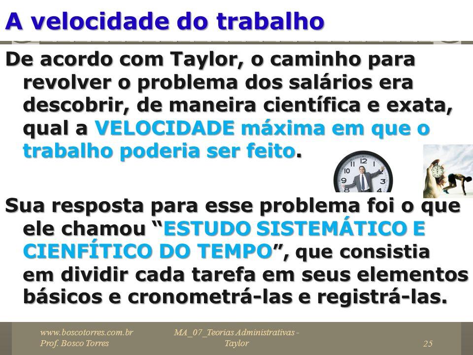 MA_07_Teorias Administrativas - Taylor25 A velocidade do trabalho De acordo com Taylor, o caminho para revolver o problema dos salários era descobrir,