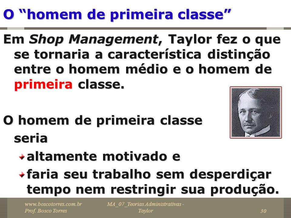 30 O homem de primeira classe Em Shop Management, Taylor fez o que se tornaria a característica distinção entre o homem médio e o homem de primeira cl