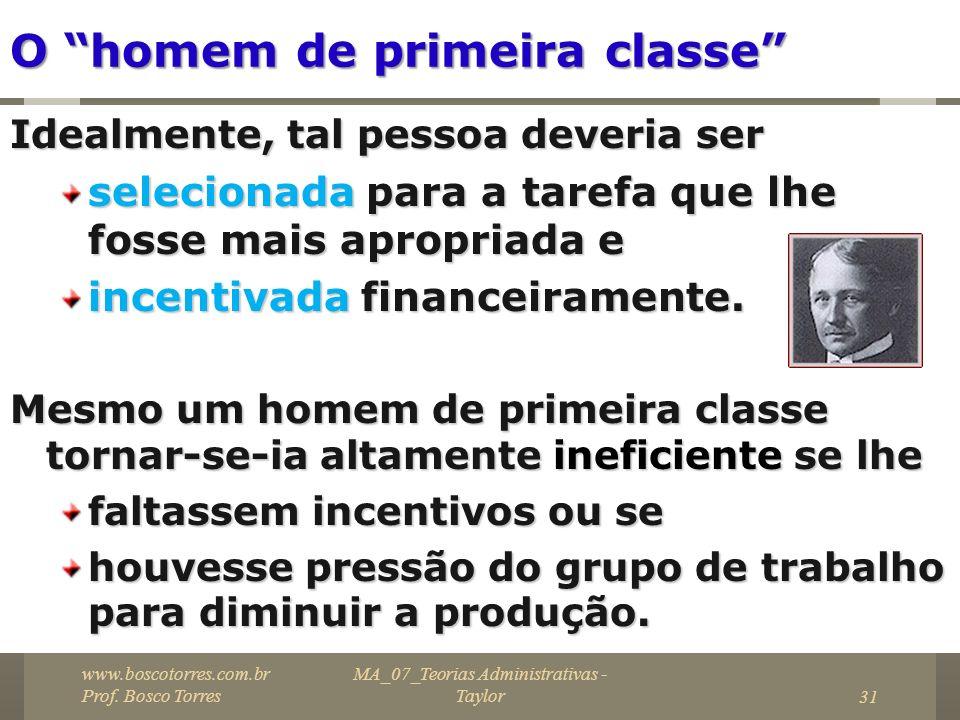 MA_07_Teorias Administrativas - Taylor31 O homem de primeira classe Idealmente, tal pessoa deveria ser selecionada para a tarefa que lhe fosse mais ap