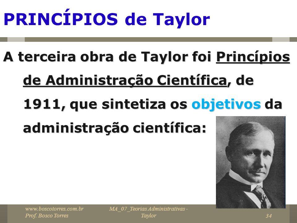 MA_07_Teorias Administrativas - Taylor34 PRINCÍPIOS de Taylor A terceira obra de Taylor foi Princípios de Administração Científica, de 1911, que sinte