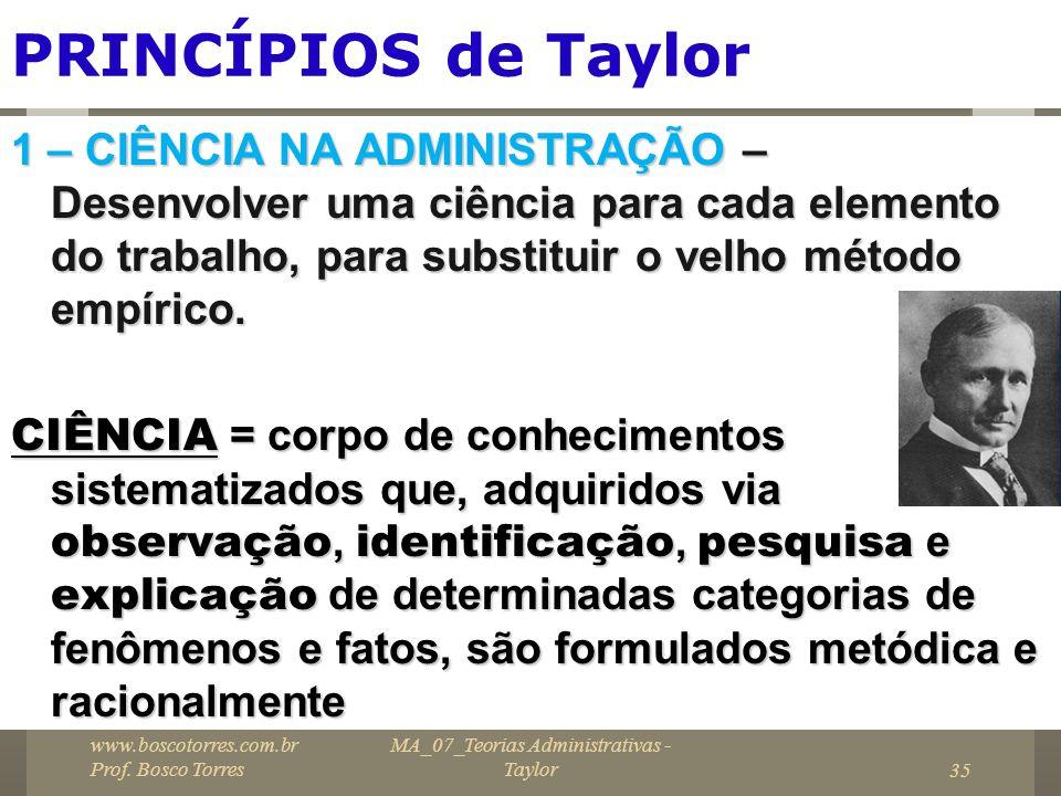 PRINCÍPIOS de Taylor 1 – CIÊNCIA NA ADMINISTRAÇÃO – Desenvolver uma ciência para cada elemento do trabalho, para substituir o velho método empírico. C