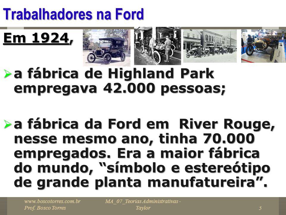 MA_07_Teorias Administrativas - Taylor5 Trabalhadores na Ford Em 1924, a fábrica de Highland Park empregava 42.000 pessoas; a fábrica de Highland Park