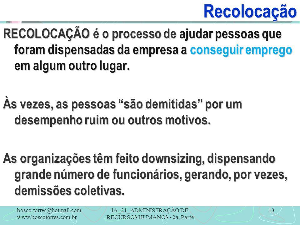 IA_21_ADMINISTRAÇÃO DE RECURSOS HUMANOS - 2a. Parte 13 RECOLOCAÇÃO é o processo de ajudar pessoas que foram dispensadas da empresa a conseguir emprego