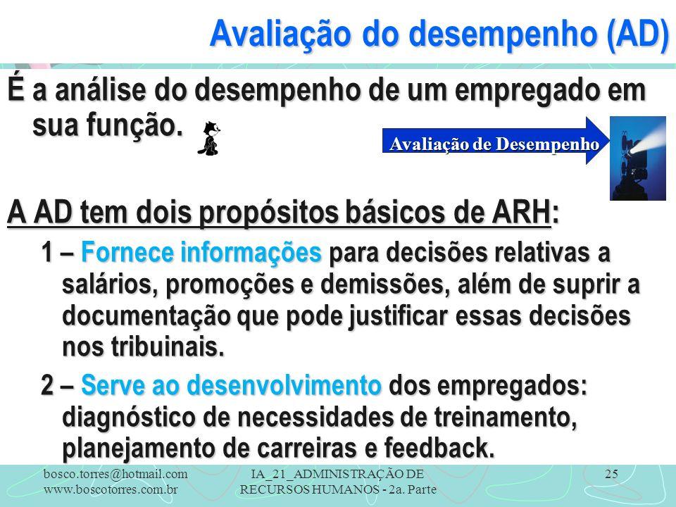 IA_21_ADMINISTRAÇÃO DE RECURSOS HUMANOS - 2a. Parte 25 Avaliação do desempenho (AD) É a análise do desempenho de um empregado em sua função. A AD tem