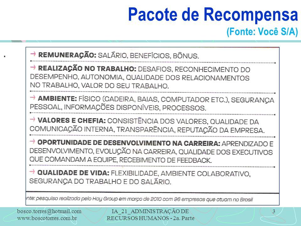 Pacote de Recompensa (Fonte: Você S/A). bosco.torres@hotmail.com www.boscotorres.com.br IA_21_ADMINISTRAÇÃO DE RECURSOS HUMANOS - 2a. Parte 3
