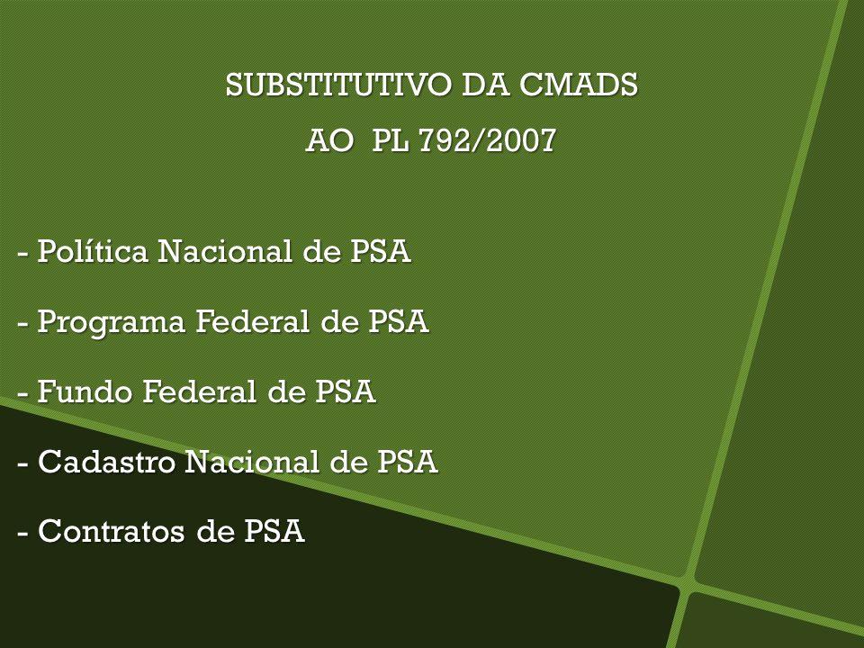 SUBSTITUTIVO DA CMADS AO PL 792/2007 - Política Nacional de PSA - Política Nacional de PSA - Programa Federal de PSA - Programa Federal de PSA - Fundo