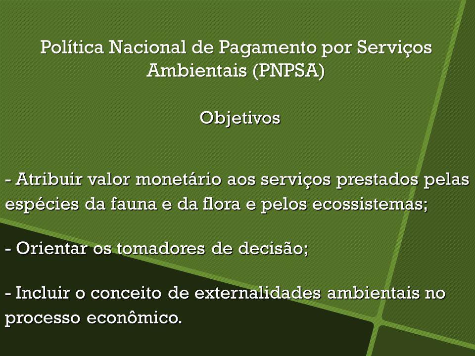 Política Nacional de Pagamento por Serviços Ambientais (PNPSA) Objetivos Objetivos - Atribuir valor monetário aos serviços prestados pelas espécies da