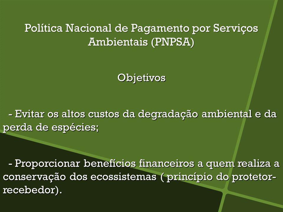 Política Nacional de Pagamento por Serviços Ambientais (PNPSA) Objetivos - Evitar os altos custos da degradação ambiental e da perda de espécies; - Ev