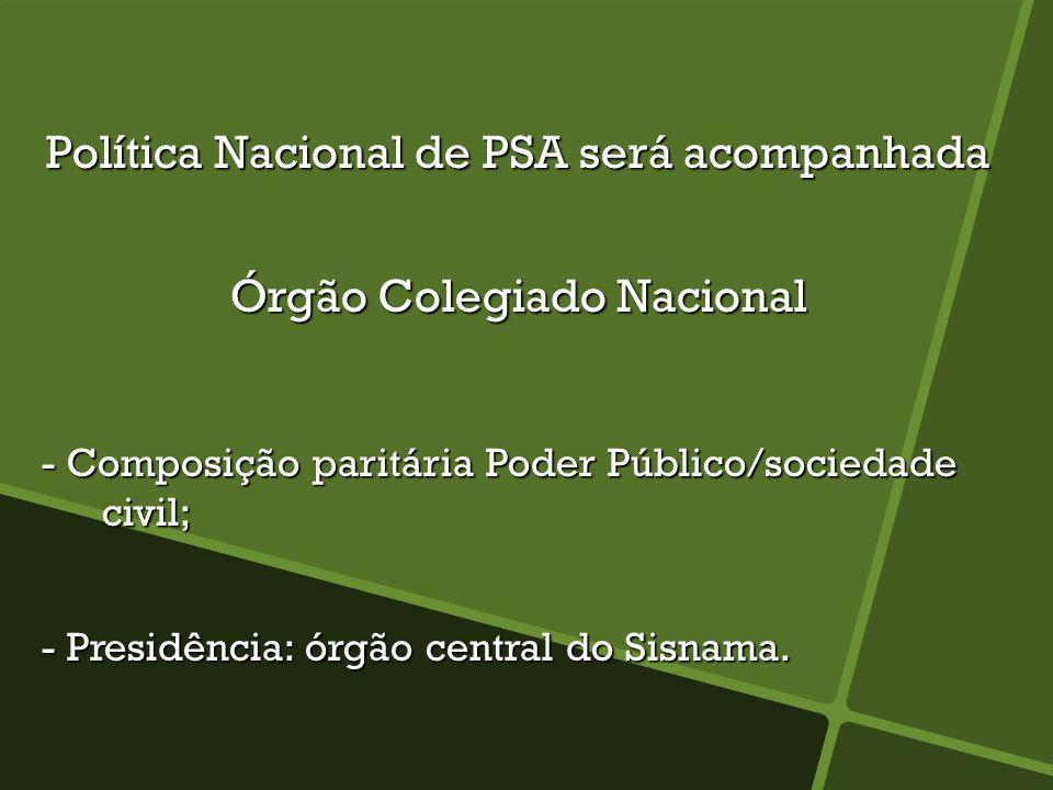 Política Nacional de PSA será acompanhada Órgão Colegiado Nacional - Composição paritária Poder Público/sociedade civil; - Composição paritária Poder
