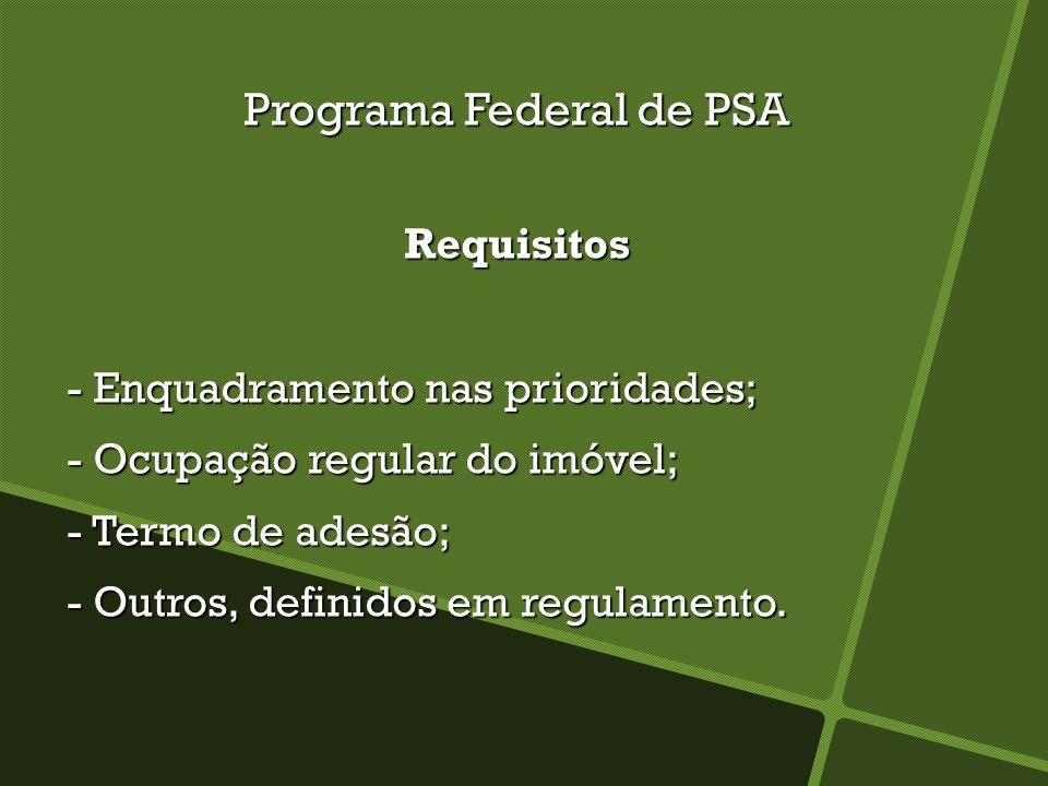 Programa Federal de PSA Requisitos - Enquadramento nas prioridades; - Enquadramento nas prioridades; - Ocupação regular do imóvel; - Ocupação regular