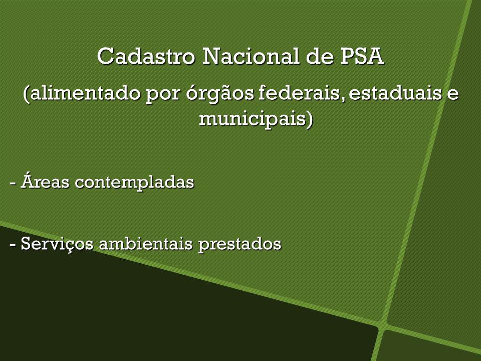 Cadastro Nacional de PSA (alimentado por órgãos federais, estaduais e municipais) - Áreas contempladas - Áreas contempladas - Serviços ambientais pres