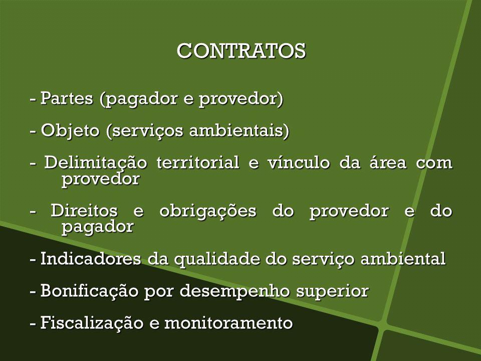 CONTRATOS - Partes (pagador e provedor) - Objeto (serviços ambientais) - Delimitação territorial e vínculo da área com provedor - Direitos e obrigaçõe
