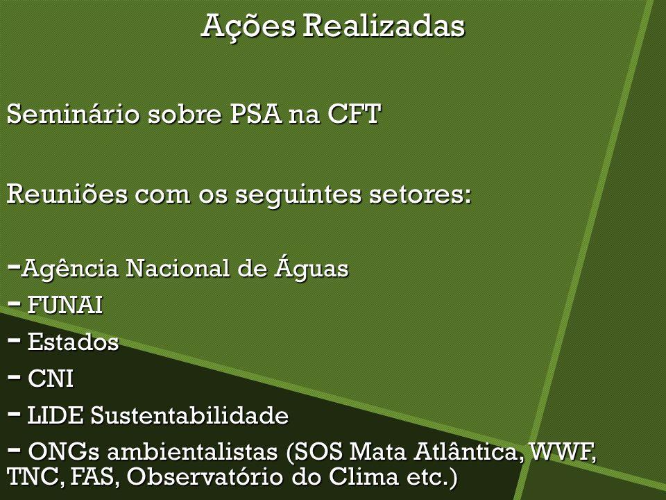 Ações Realizadas Seminário sobre PSA na CFT Reuniões com os seguintes setores: - Agência Nacional de Águas - FUNAI - Estados - CNI - LIDE Sustentabili