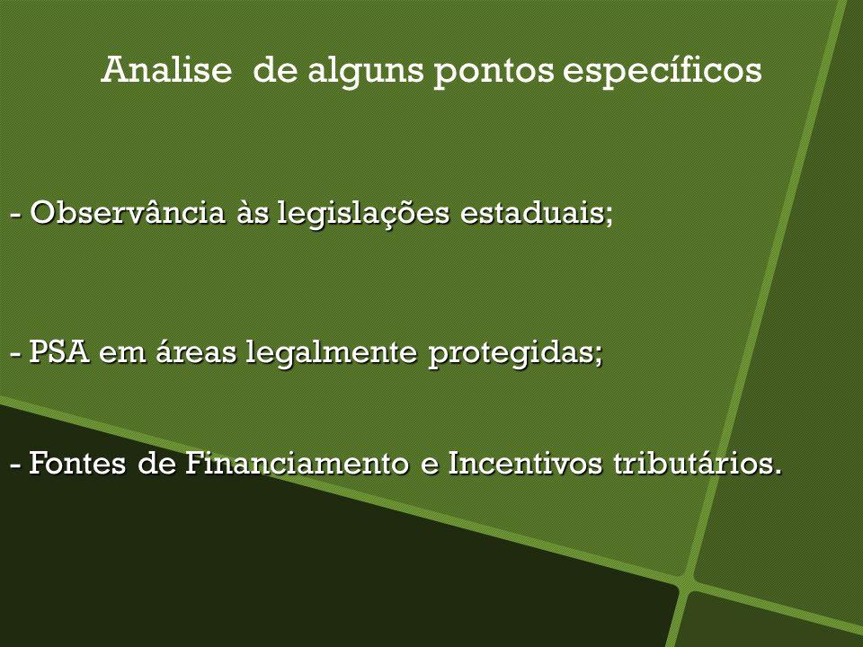 Analise de alguns pontos específicos - Observância às legislações estaduais - Observância às legislações estaduais; - PSA em áreas legalmente protegid