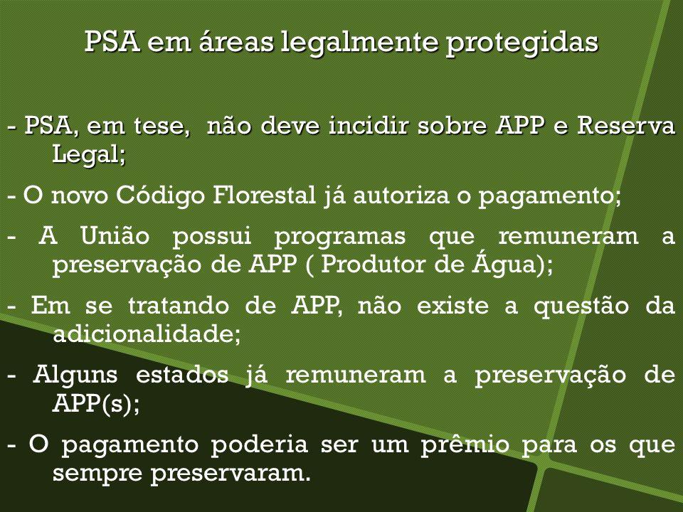 PSA em áreas legalmente protegidas - PSA, em tese, não deve incidir sobre APP e Reserva Legal; - O novo Código Florestal já autoriza o pagamento; - A