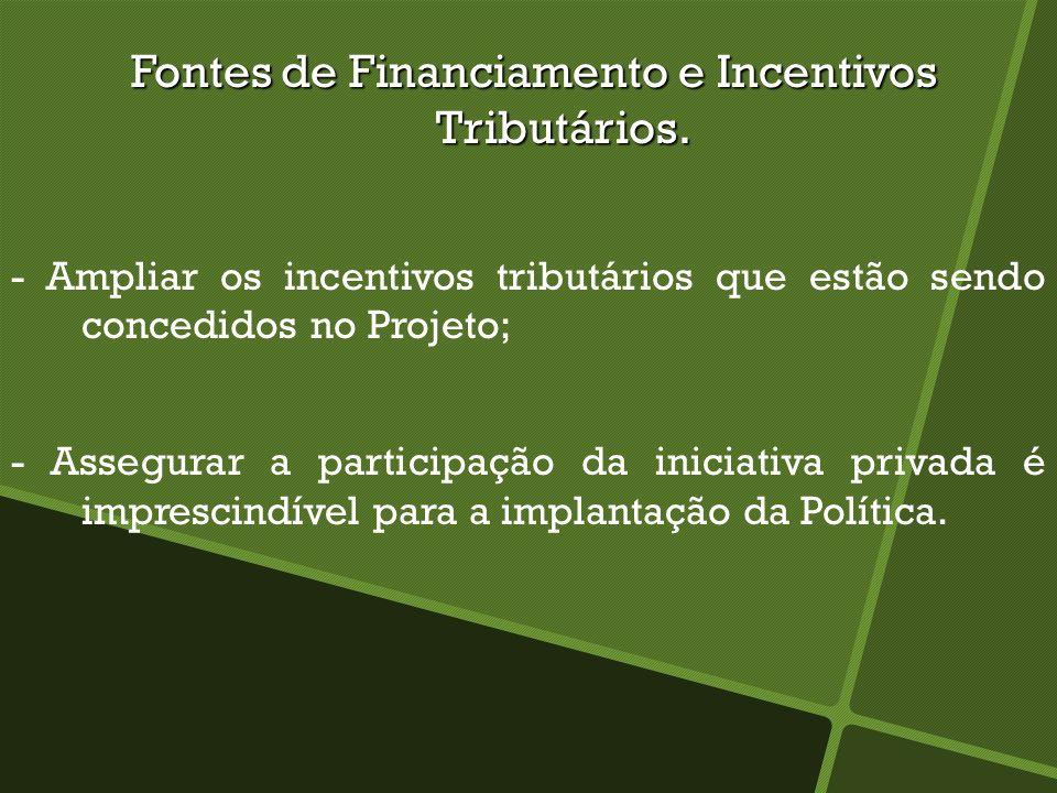 Fontes de Financiamento e Incentivos Tributários. Fontes de Financiamento e Incentivos Tributários. - Ampliar os incentivos tributários que estão send