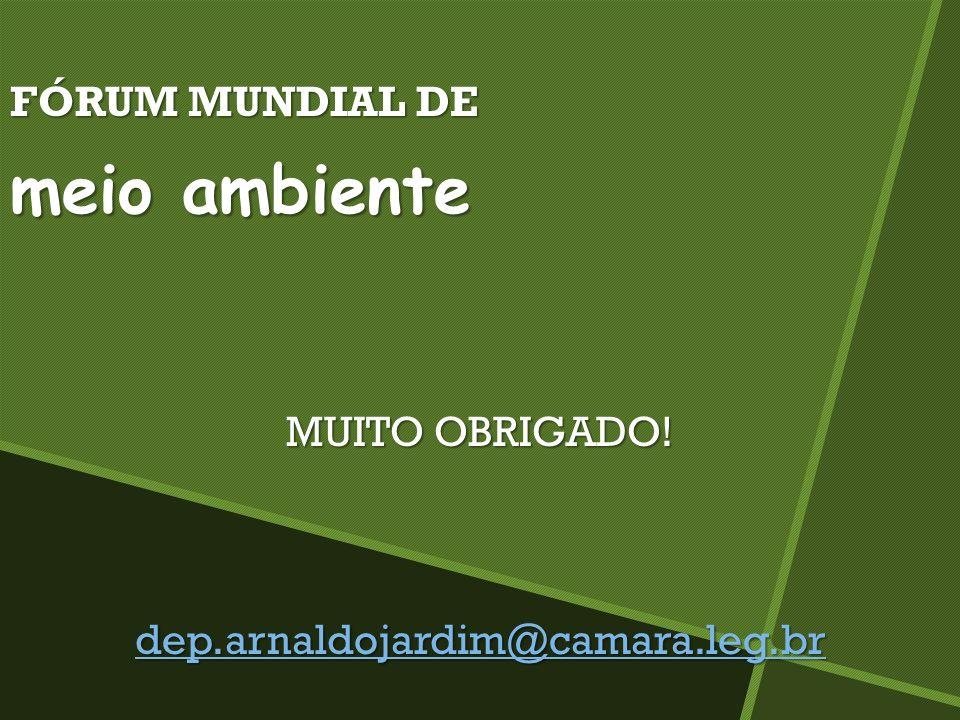 FÓRUM MUNDIAL DE meio ambiente MUITO OBRIGADO! dep.arnaldojardim@camara.leg.br