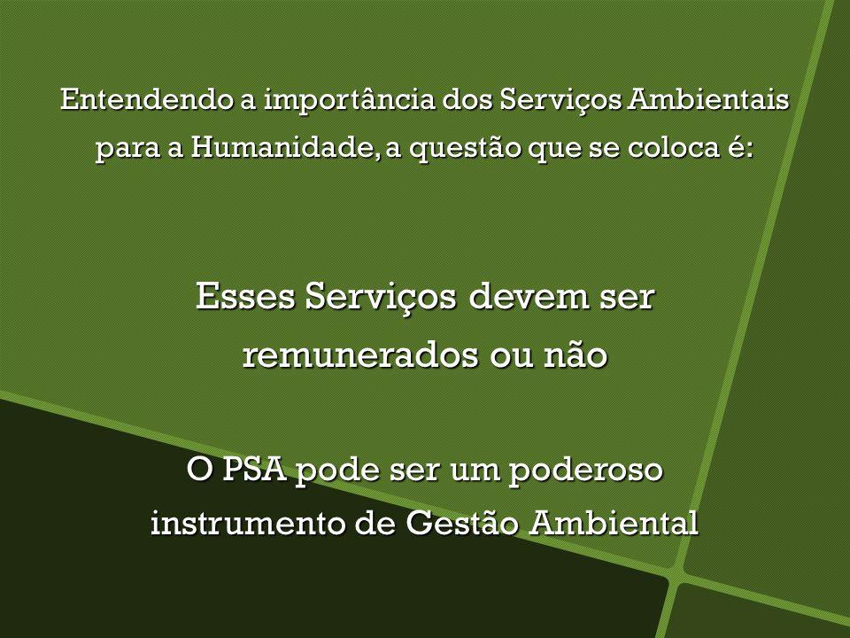 Entendendo a importância dos Serviços Ambientais para a Humanidade, a questão que se coloca é: Esses Serviços devem ser remunerados ou não O PSA pode
