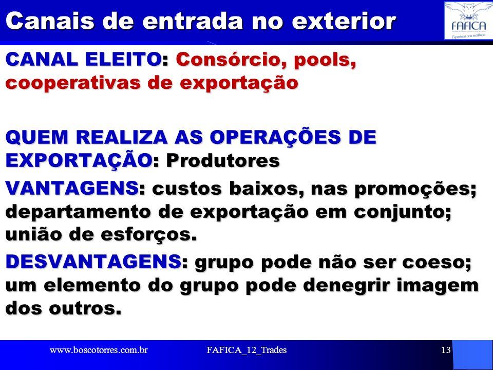 Canais de entrada no exterior CANAL ELEITO: Consórcio, pools, cooperativas de exportação QUEM REALIZA AS OPERAÇÕES DE EXPORTAÇÃO: Produtores VANTAGENS