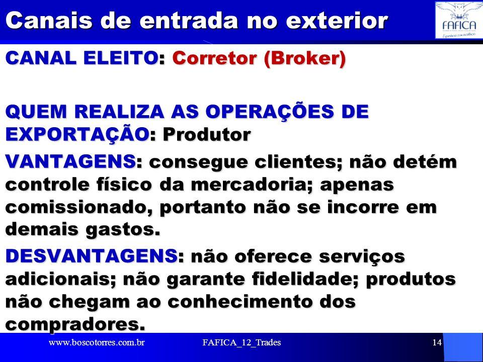 Canais de entrada no exterior CANAL ELEITO: Corretor (Broker) QUEM REALIZA AS OPERAÇÕES DE EXPORTAÇÃO: Produtor VANTAGENS: consegue clientes; não deté