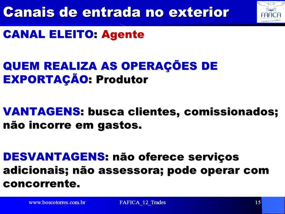 Canais de entrada no exterior CANAL ELEITO: Agente QUEM REALIZA AS OPERAÇÕES DE EXPORTAÇÃO: Produtor VANTAGENS: busca clientes, comissionados; não inc