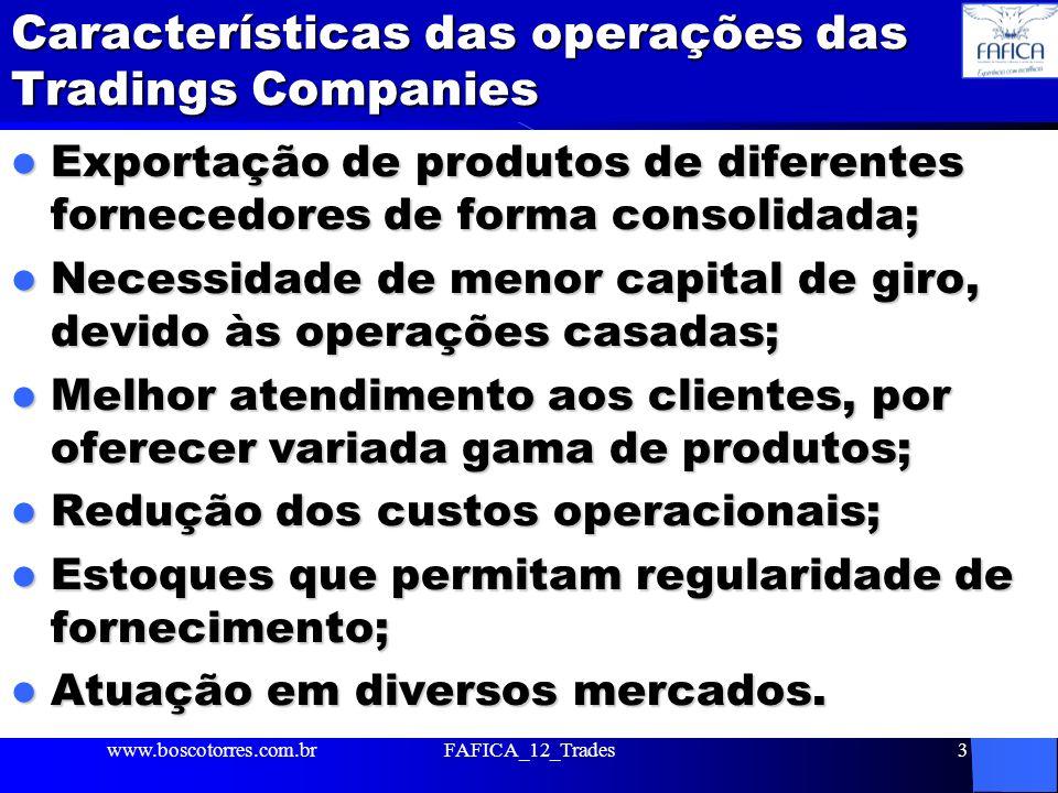 Características das operações das Tradings Companies Exportação de produtos de diferentes fornecedores de forma consolidada; Exportação de produtos de