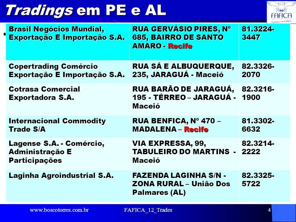 Tradings em PE e AL. www.boscotorres.com.brFAFICA_12_Trades4 Brasil Negócios Mundial, Exportação E Importação S.A. RUA GERVÁSIO PIRES, Nº 685, BAIRRO