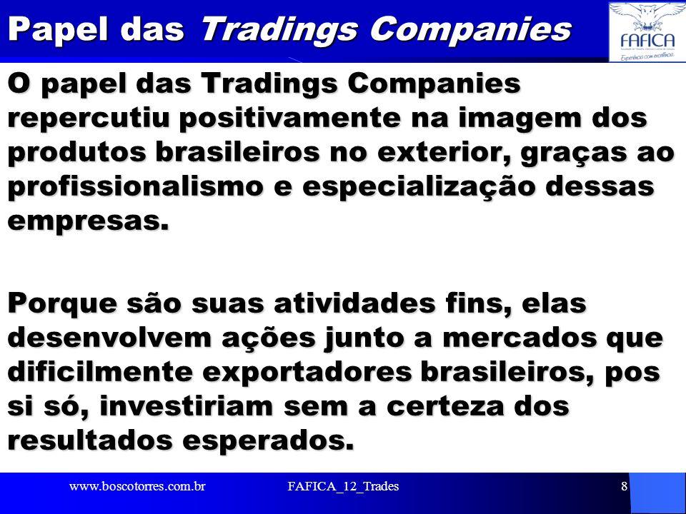 Papel das Tradings Companies O papel das Tradings Companies repercutiu positivamente na imagem dos produtos brasileiros no exterior, graças ao profiss