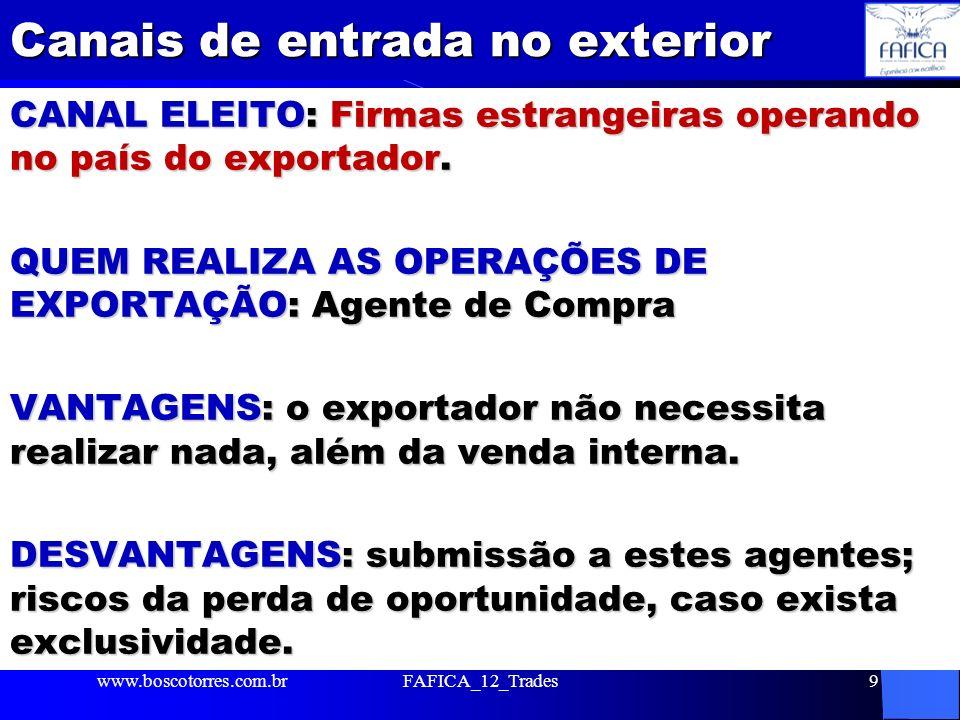 Canais de entrada no exterior CANAL ELEITO: Firmas estrangeiras operando no país do exportador. QUEM REALIZA AS OPERAÇÕES DE EXPORTAÇÃO: Agente de Com
