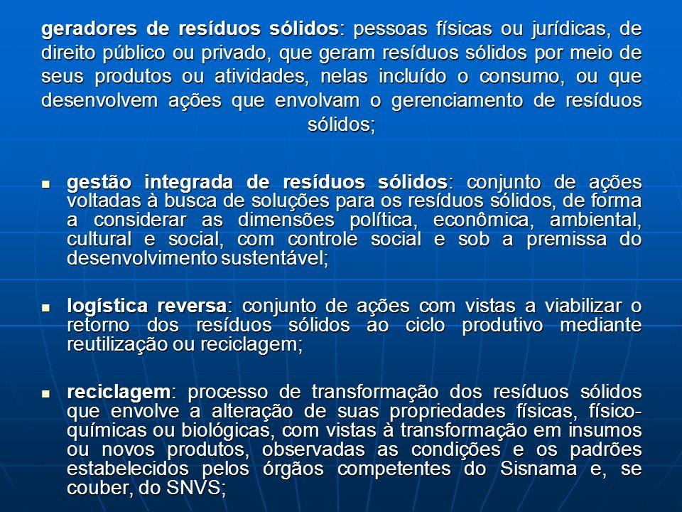 geradores de resíduos sólidos: pessoas físicas ou jurídicas, de direito público ou privado, que geram resíduos sólidos por meio de seus produtos ou at