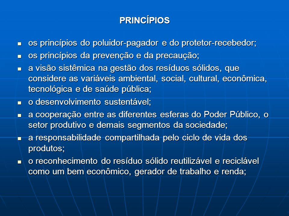 PRINCÍPIOS os princípios do poluidor-pagador e do protetor-recebedor; os princípios do poluidor-pagador e do protetor-recebedor; os princípios da prev