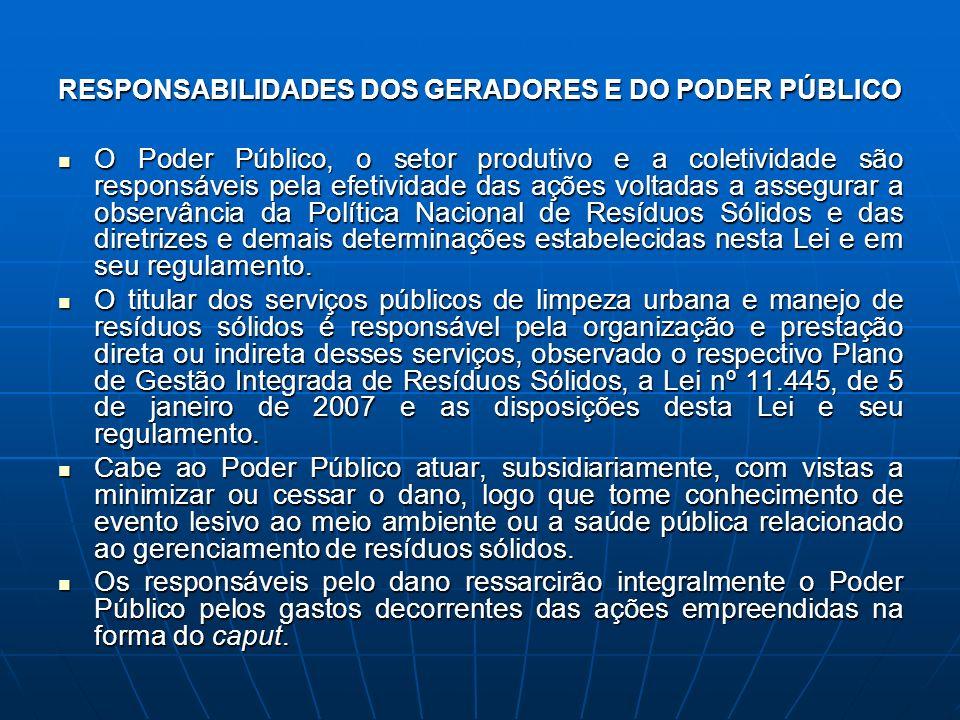 RESPONSABILIDADES DOS GERADORES E DO PODER PÚBLICO O Poder Público, o setor produtivo e a coletividade são responsáveis pela efetividade das ações vol