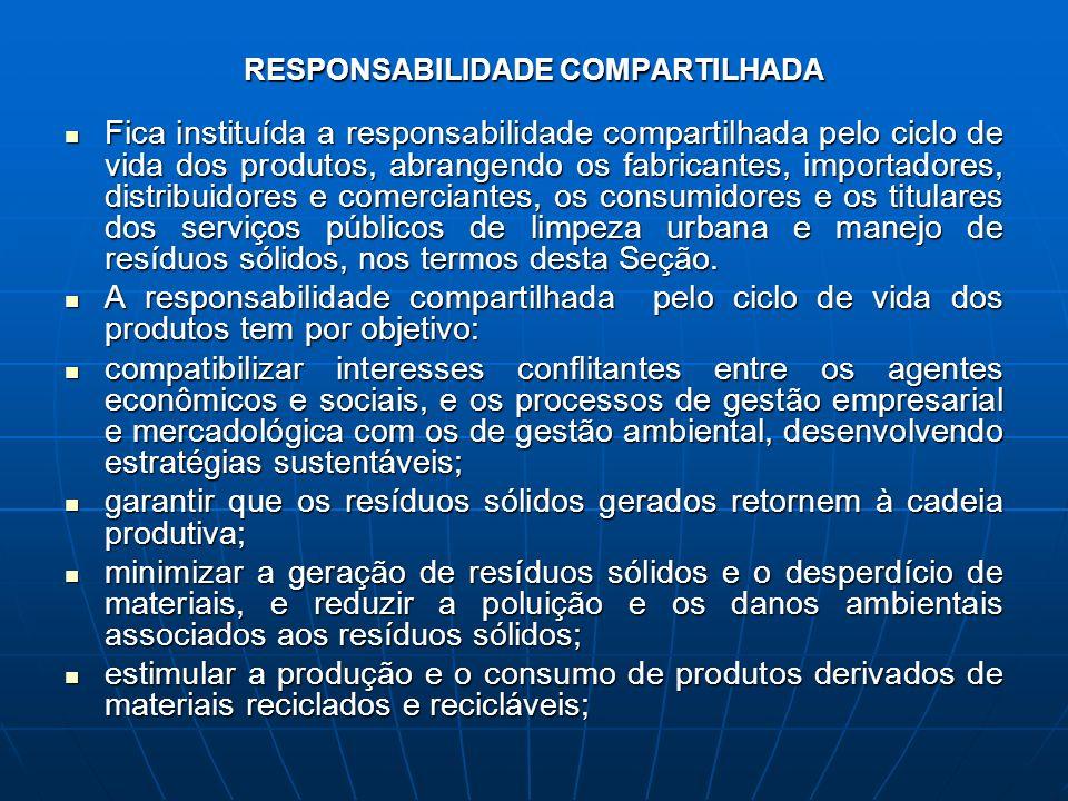 RESPONSABILIDADE COMPARTILHADA Fica instituída a responsabilidade compartilhada pelo ciclo de vida dos produtos, abrangendo os fabricantes, importador