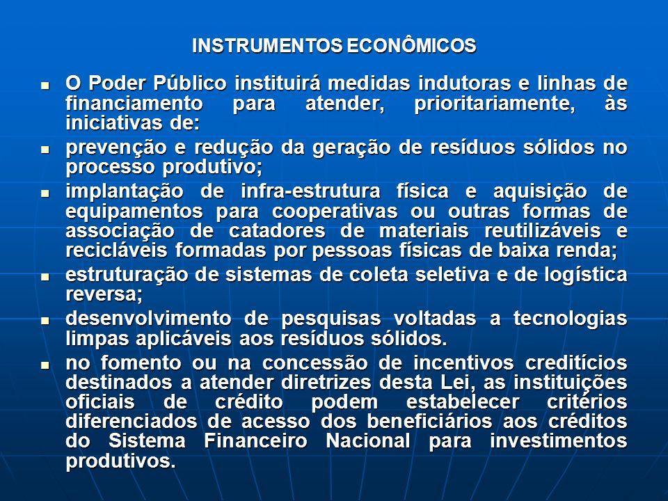 INSTRUMENTOS ECONÔMICOS O Poder Público instituirá medidas indutoras e linhas de financiamento para atender, prioritariamente, às iniciativas de: O Po